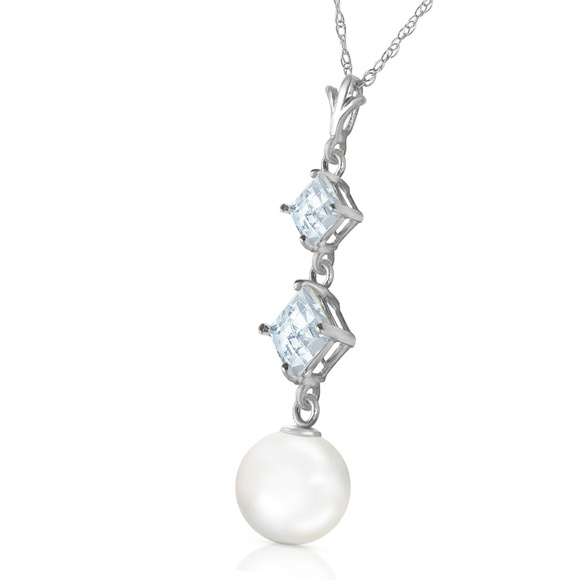 Galaxy Gold Products Jewelry - NECKLACE WITH NATURAL AQUAMARINES & PEARLS